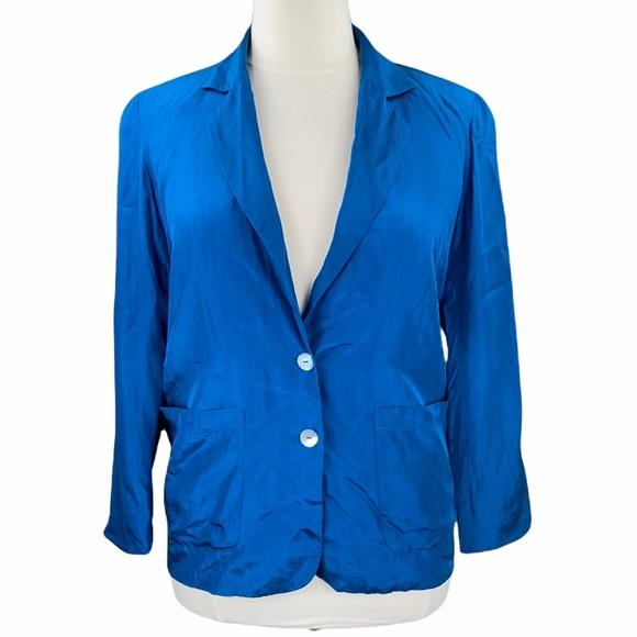 WinterSilks 100% Silk Teal Blue Satin Lined Double Button Long Sleeve Blazer